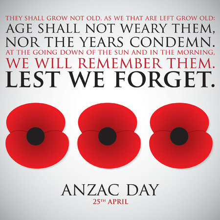 red poppy: ANZAC (Australia New Zealand Army Corps) Day card in vector format.
