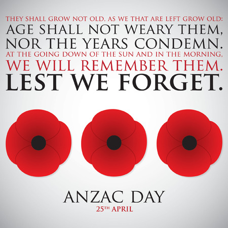 ベクトル形式の ANZAC (オーストラリア ニュージーランド軍団) の日カード。