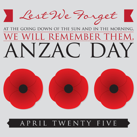 remembrance day poppy: ANZAC (Australia New Zealand Army Corps) Day card in vector format.