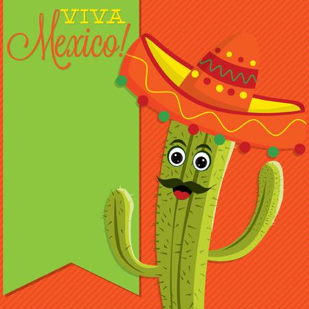 sash: Cactus character sash card in vector format.