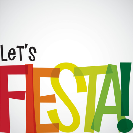 hispanics mexicans: Bright typographic Fiesta card in vector format.