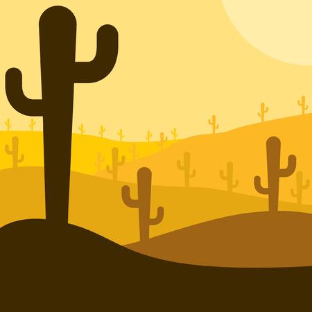 desert cactus: Mexican desert cactus scene in vector format.