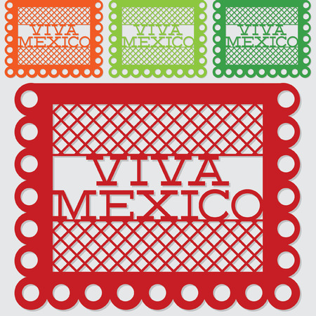 Mexican papel picado (Paper flag decoration) set in vector format.