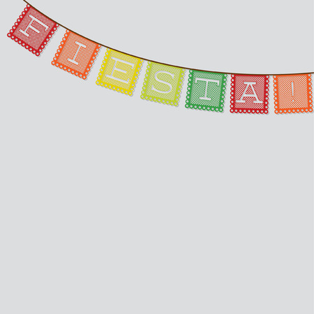 Mexican papel picado (Paper flag decoration) card in vector format. Illustration