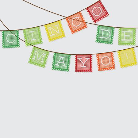 墨西哥'papel picado'(纸旗子装饰)卡片以传染媒介格式。