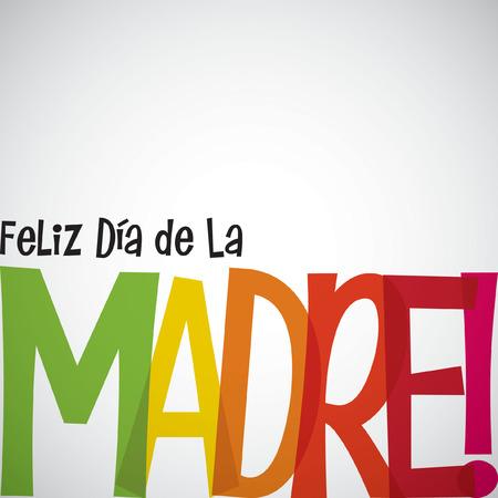 """明亮的印刷西班牙语""""愉快的母亲节""""卡片以传染媒介格式。"""