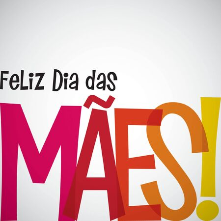 Bright typographic Portuguese Happy Mothers Day card in vector format.