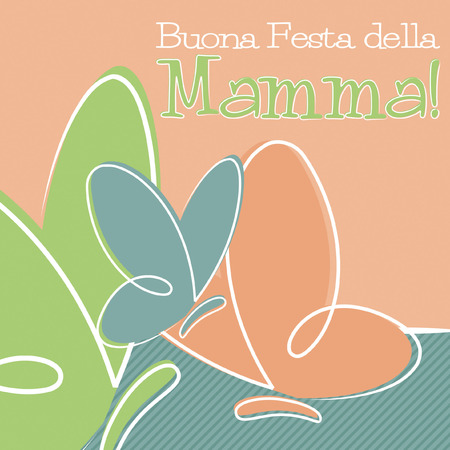 mamma: Hand Drawn Italian Happy Mothers Day card in vector format. Illustration