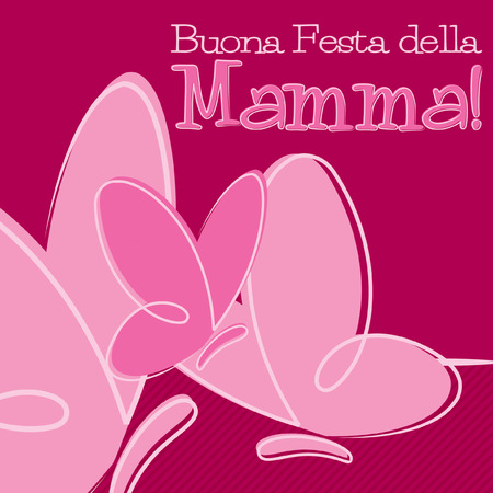Hand Drawn Italian Happy Mothers Day card in vector format. Illustration