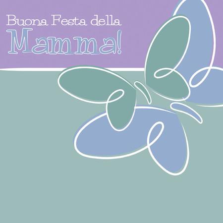 Hand Drawn Italian Happy Mothers Day card Illustration