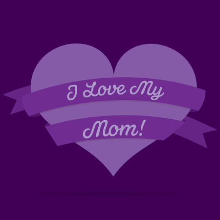 Mothers Day heart with ribbon card in vector format Vector
