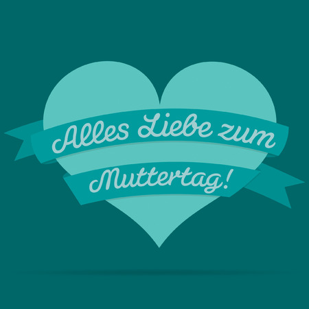 ladies day: German Happy Mothers Day heart with ribbon card