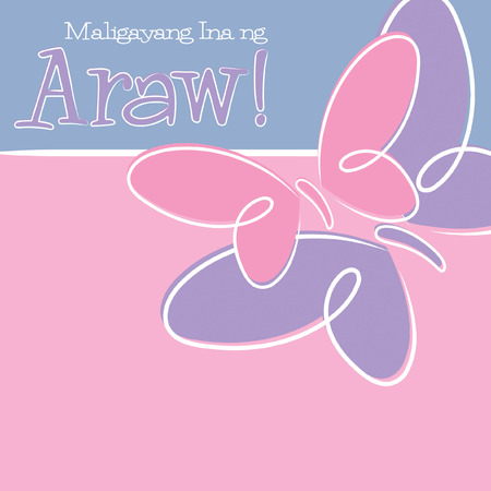 filipino: Hand Drawn Tagalog Happy Mothers Day card in vector format.