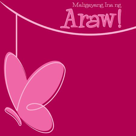 filipino: Hand Drawn Tagalog Happy Mothers Day card Illustration
