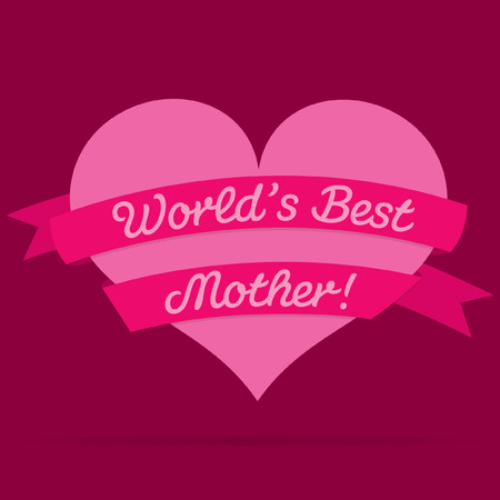 Mothers Day heart with ribbon card Vector