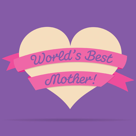 ladies day: Mothers Day heart with ribbon card in vector format