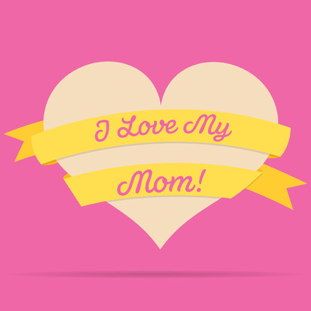 ladies day: Mothers Day heart with ribbon card