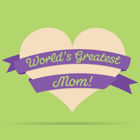 lady s: Mothers Day heart with ribbon card in vector format