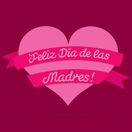 ladies day: Spanish Happy Mothers Day heart with ribbon card