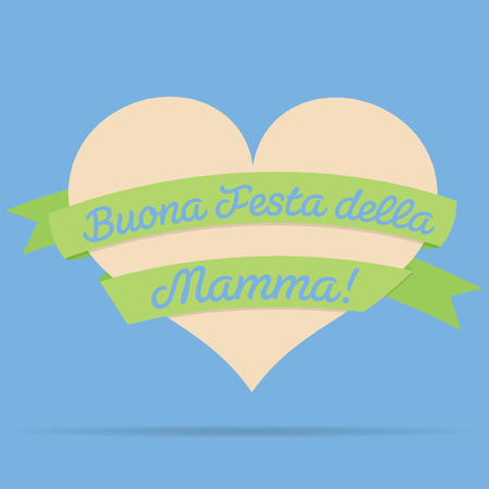 mamma: Italian Happy Mothers Day heart with ribbon card in vector format.