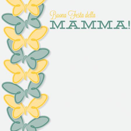 mamma: Italian line of butterflies Mothers Day card Illustration
