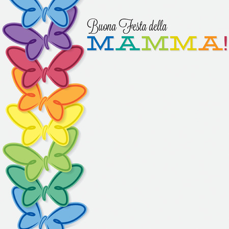 mamma: Italian line of butterflies Mothers Day card Illustration