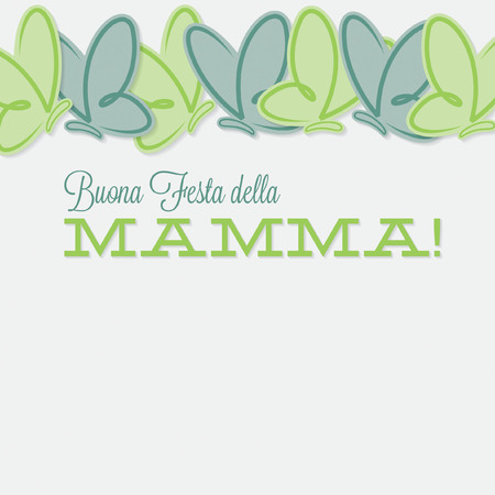 Italian line of butterflies Mothers Day card Illustration