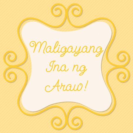 filipino: Tagalog doodle frame card Illustration