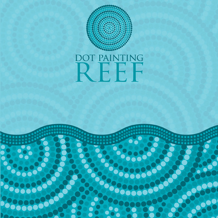 australian culture: Dot painting invite greeting card in vector format. Illustration