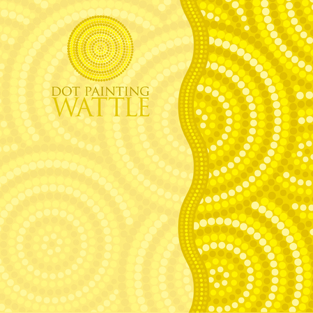 wattle: Dot painting invite greeting card in vector format. Illustration