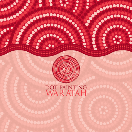 outback: Dot painting invite greeting card in vector format. Illustration