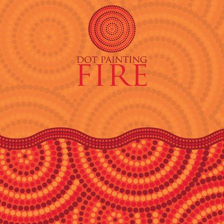 aboriginal art: Dot painting invite greeting card in vector format. Illustration