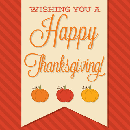 happy family nature: Sash Happy Thanksgiving card in vector format.