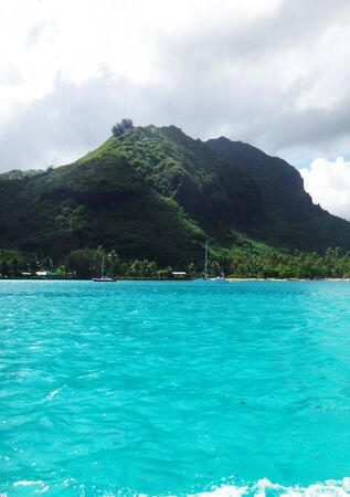 moorea: View of Moorea from the lagoon, French Polynesia.