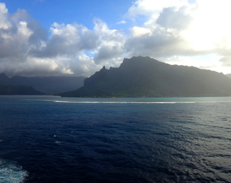 moorea: View of Moorea from the lagoon on a cruise ship, French Polynesia. Stock Photo
