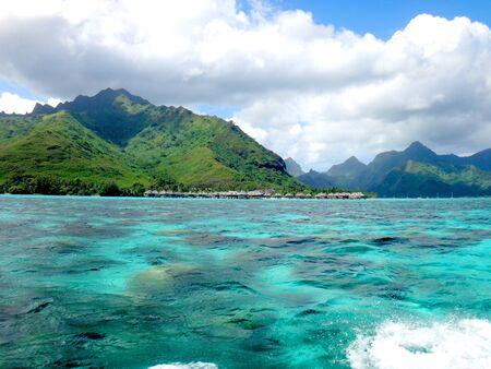 polynesia: View of Moorea from the lagoon, French Polynesia.