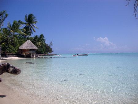 polynesia: View of Matira Beach, Bora Bora, French Polynesia.