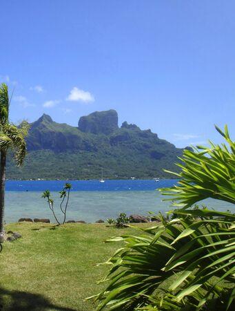 polynesia: View of Bora Bora, Society Islands, French Polynesia. Stock Photo