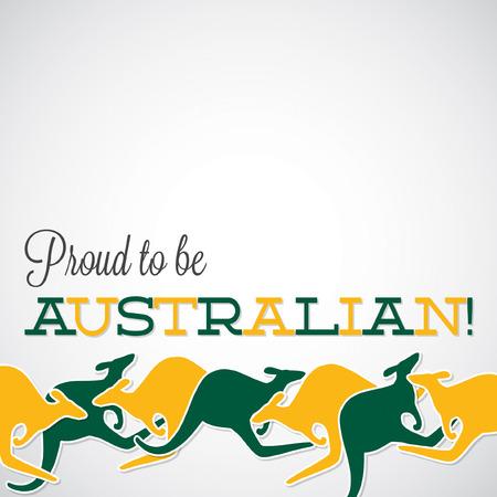 Kangaroo line Australia Day card in vector format.