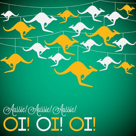 Kangaroo ornement Australie Carte de jour en format vectoriel.