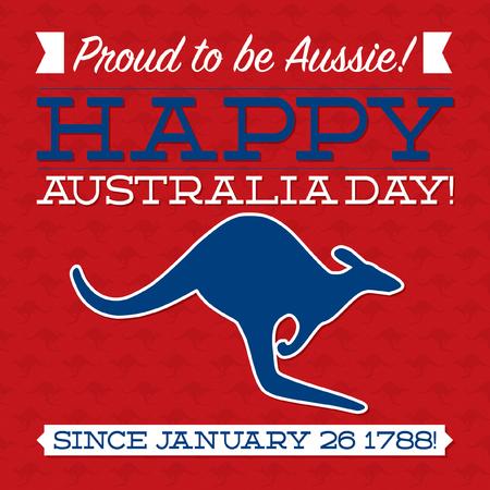 red kangaroo: Typographic retro Australia Day card in vector format.