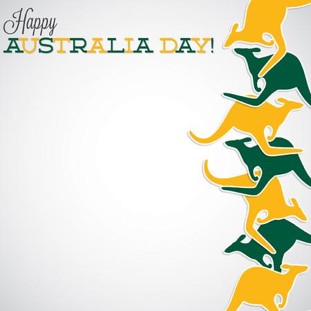 australia animal: Kangaroo line Australia Day card in vector format.