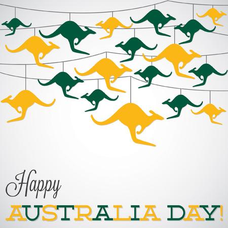 kangaroo island: Kangaroo ornament Australia day Card in vector format.