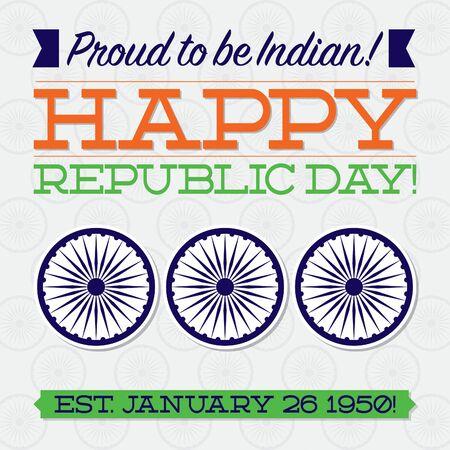 ashoka: Flat typographic Indian Republic Day card in vector format.