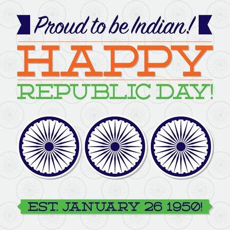 Flat typographic Indian Republic Day card in vector format.