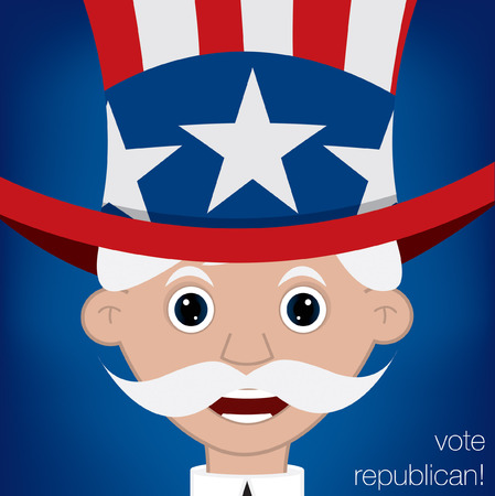 sam: Cute cartoon Uncle Sam U.S. election card in vector format.