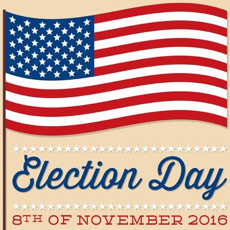 nomination: Flag American election card in vector format. Illustration