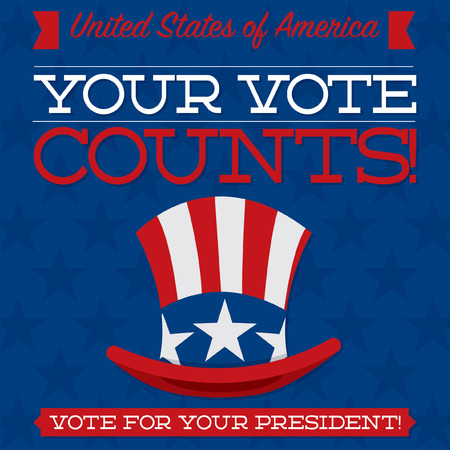 political party: Retro style American election typographic card in vector format.