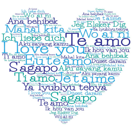 love couples: Love heart made from I love you in 15 different languages