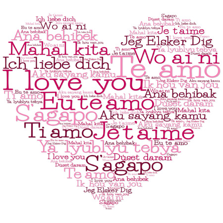 filipino: Love heart made from I love you in 15 different languages